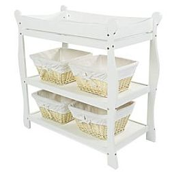 High Quality White Sleigh Style Baby Changing Table