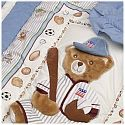 Kidsline Club USA 6 Piece Crib Bedding Set - baseball teddy